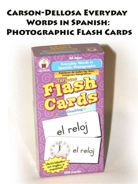 everyday words in spanish carson dellosa everyday words in spanish photographic flash cards cd 3924