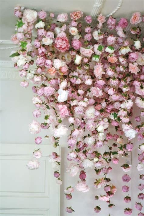 floral decorations backdrop of flowers hang from the ceiling event