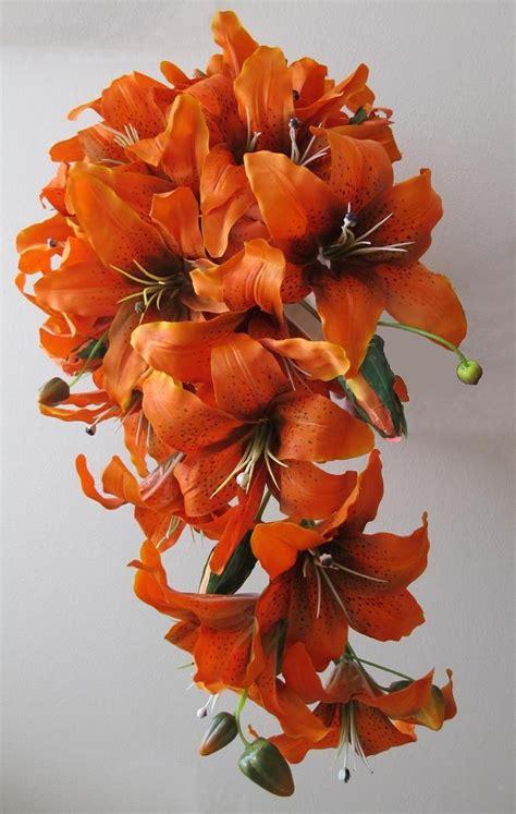Bouquet Tiger calla lilie orange tiger tiger cascade bouquet wedding ideas