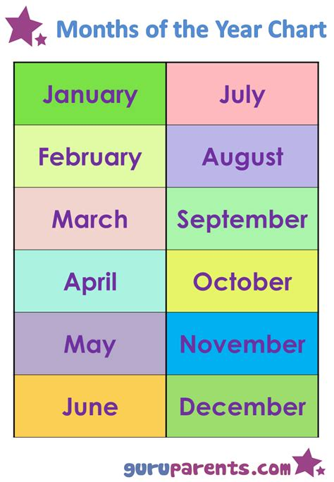 Months Of The Year Printables 6 best images of free printable months of the year chart