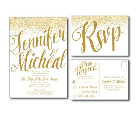 Einladung Postkarten Hochzeit by Gold Wedding Invitation Gold Sparkles Printable