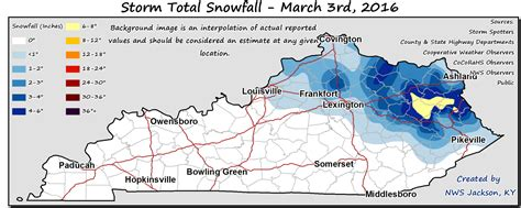 kentucky governor map kentucky statewide snowfall map from march 3 2016