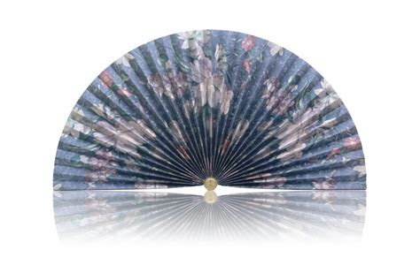 decorative pleated window fans blue with silver flowers pleated decorative fan