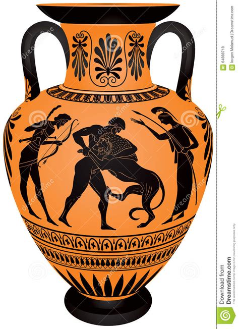 Animal Pots by Amphora Hercules Fighting The Nemean Lion Stock Vector