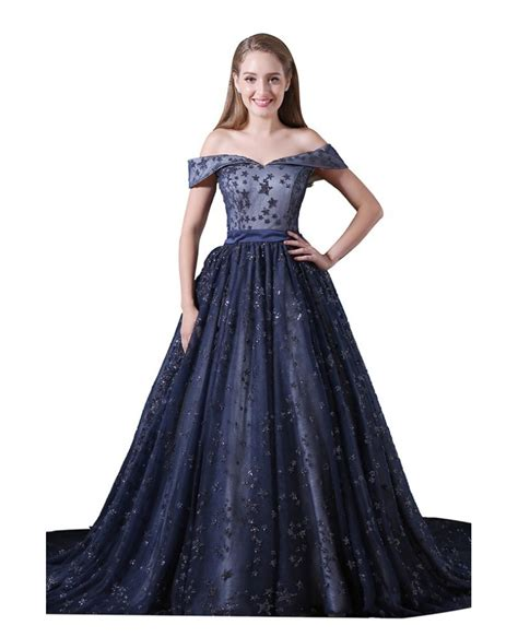 Ball gown Off the shoulder Court Train Tulle Prom Dress #A013 $245.99   GemGrace.com