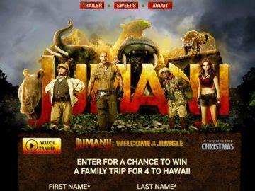 Trip To Hawaii Sweepstakes - jumanji sweepstakes win a trip to hawaii