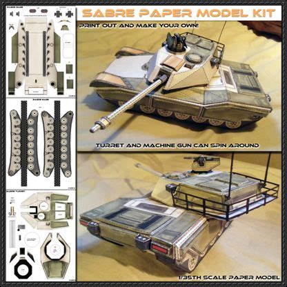 Papercraft Models Free - sabre battle tank paper model free
