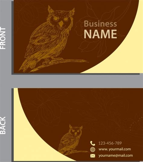 business card templates for corel draw owl free vector 274 free vector for commercial