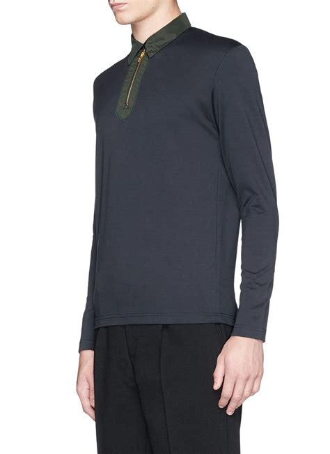 tattoo cover up long sleeve shirt lyst kolor zip front long sleeve polo shirt in blue for men