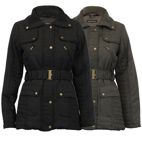 Seoul Blazer Jaket Coat jacket brave soul womens coat quilted padded belt lined casual winter new ebay