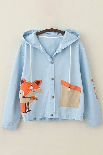 Embroidered Letter Hooded Jacket adorable fox letter embroidered single breasted drawstring