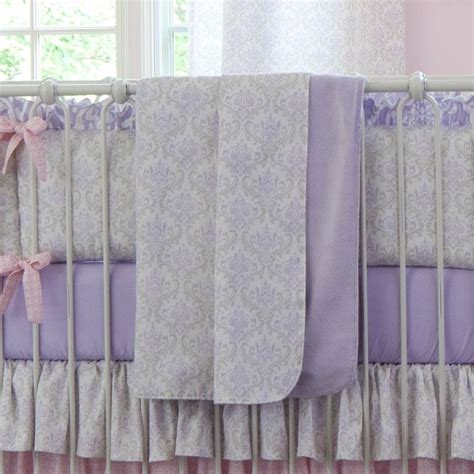 Lilac Crib Bedding Lilac And Silver Gray Damask Crib Blanket Carousel Designs