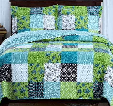 Lightweight Quilt Sets Country Cottage Patchwork Blue Green Lightweight Quilt