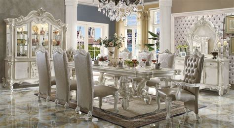 acme versailles 9 piece pedestal dining set in bone white