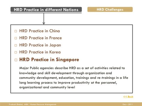 Mba In Hr Singapore by Human Resource Development Hrd