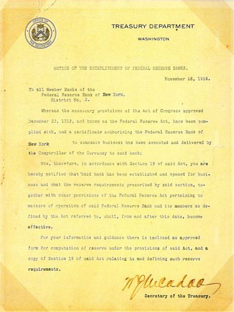 Letter Of Credit In New York Notice Announcing The Federal Reserve Bank Of New York Museum Of American Finance