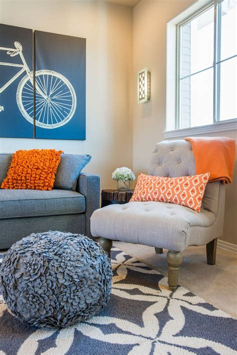orange and blue home decor orange blue and grey living room modern house