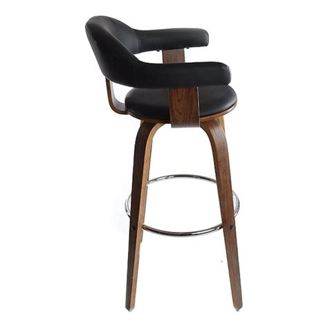 buy walnut veneer and black faux leather bar stool from