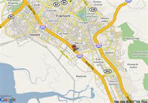 map of fremont california map of inn hotel suites fremont milpitas fremont