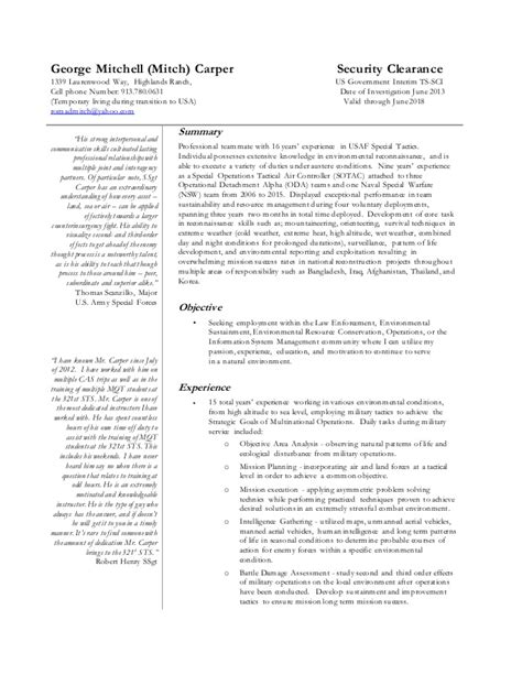 specific resume specific resume for usa