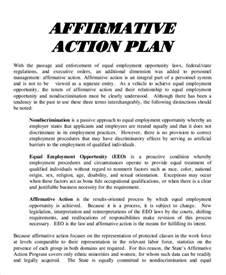 affirmative plan template doc 585650 affirmative plan template sle