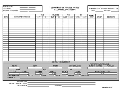 best photos of template of vehicle usage form printable