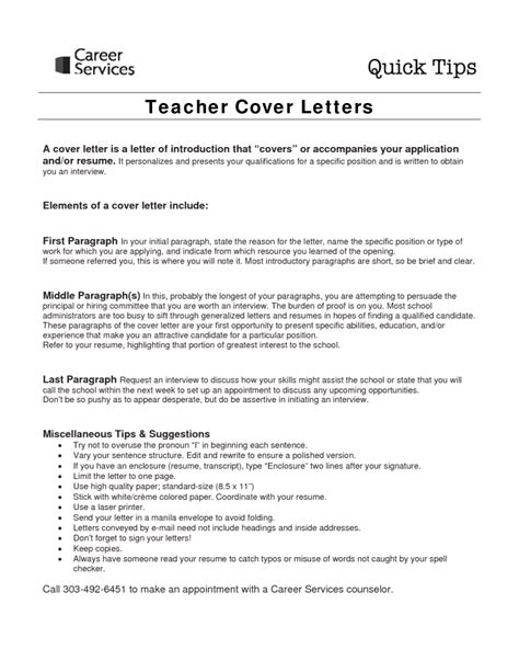 cover letter for teachers sle cover letter for teaching with no experience