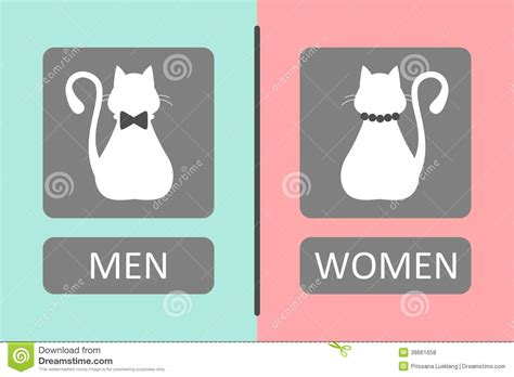 cat bathroom sign 3d female sign male models picture