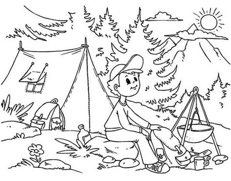 summer camp a boy sitting at summer camp coloring page