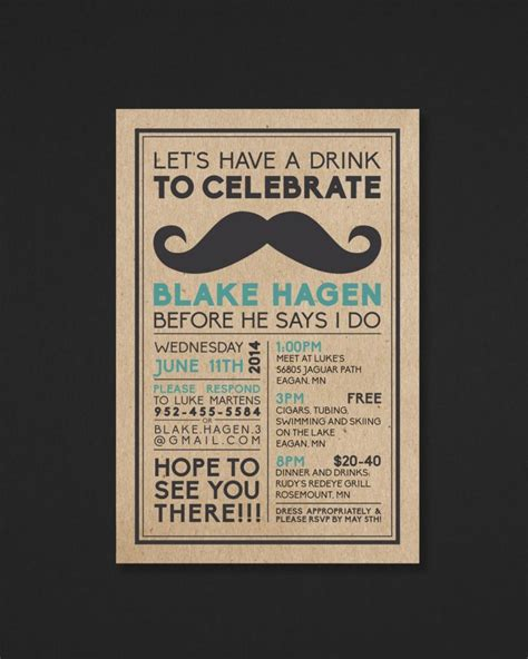 Printable Bachelor Party Invitation Mustache The Biko Collection 2406988 Weddbook Bachelor Invitation Template