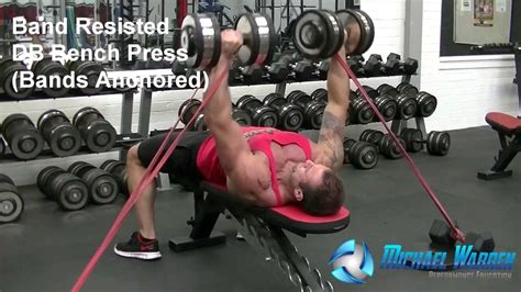 bench press with resistance bands workout band resisted dumbbell bench press anchored fitnessrx