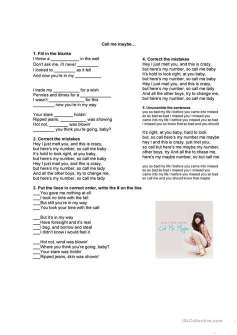 song call me song call me maybe worksheet free esl printable