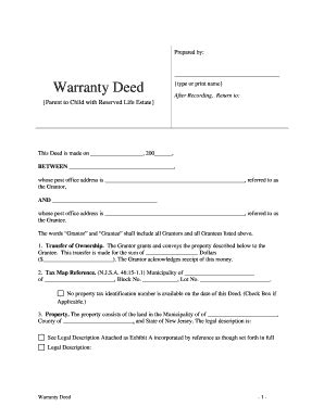 Bill Of Sale Form Pennsylvania Warranty Deed To Child Templates Fillable Printable Sles Pennsylvania Deed Template