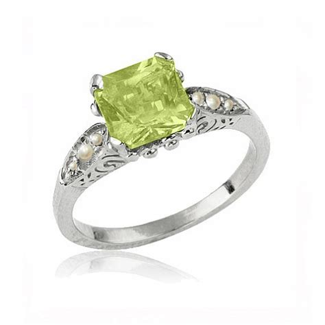 deco peridot ring deco peridot engagement ring 14k gold ring peridot birthstone ring peridot jewelry