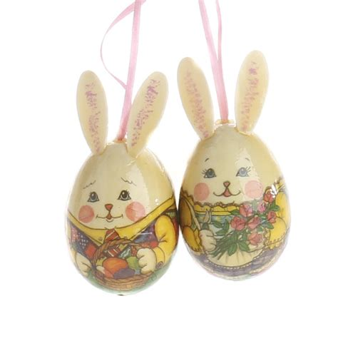decoupage ornaments mr and mrs rabbit decoupage egg ornaments and