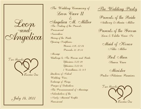 printable wedding program templates 7 best images of rustic wedding ceremony program template