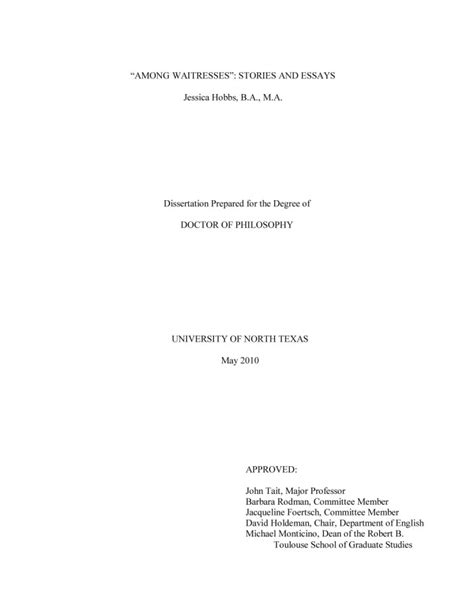 Essay Title Page by Quot Among Waitresses Quot Stories And Essays Page Title Page Unt Digital Library