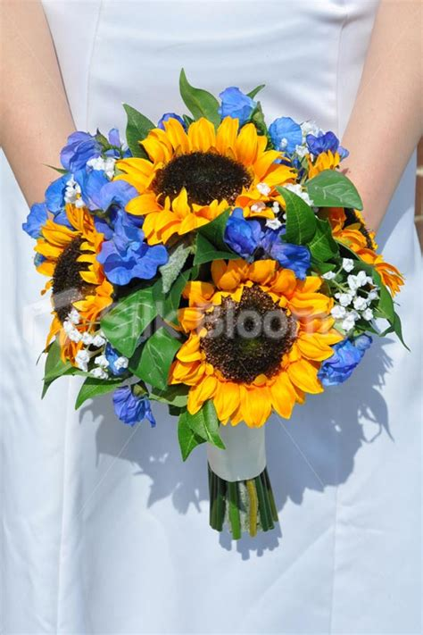 Blue Wedding Flowers Pictures by Blue And Yellow Sunflower Wedding Flowers Www Pixshark