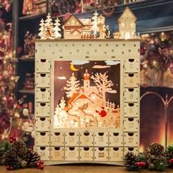 wooden advent calanders magical elven made light up wooden advent calendar 52cm