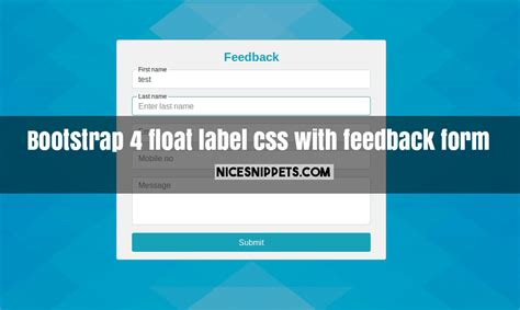 bootstrap 4 float label css exle with feedback form