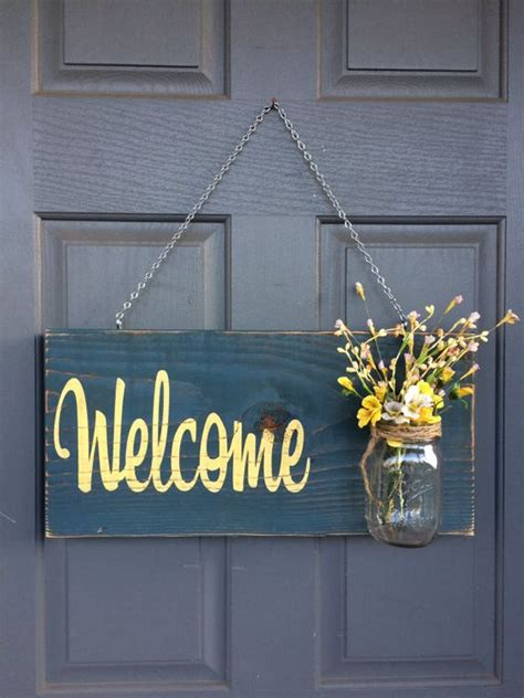 Front Door Signs For Home Rustic Outdoor Welcome Sign Blue Yellow Mothers Day Gift Wood Signs Front Door Sign