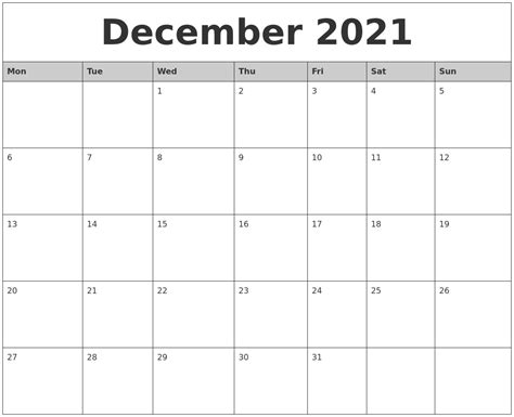 printable monthly calendar december december 2021 monthly calendar printable