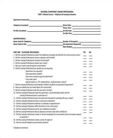 Sle Market Survey Forms 8 Free Documents In Word Pdf Apartment Leasing Market Survey Template