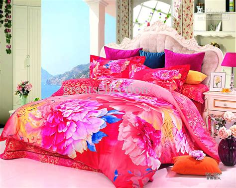 Floral Comforter Sets King Size Luxury Bedroom Design With Pink Flower King Size Bed