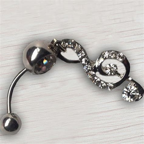 rhinestone dangle navel belly button bar ring note