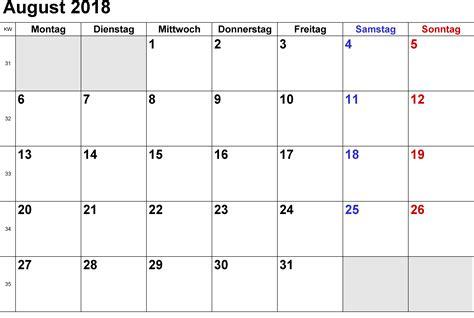 Kalender 2018 Druckversion Kalender August 2018 Zum Ausdrucken Pdf Excel Word
