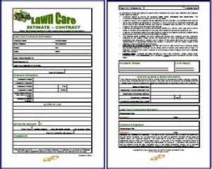 Landscape Forms Owner Lawn Care Contract Combo Estimate Contract Form