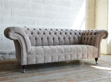 Naples Mushroom Velvet 3 Seater Chesterfield Sofa Abode Chesterfields Sofa