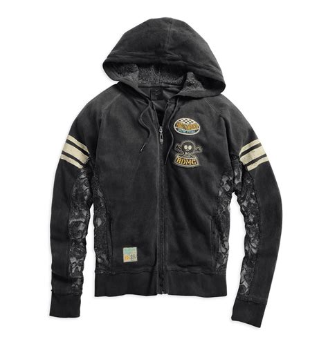 harley davidson womens lace inset skull hoodie