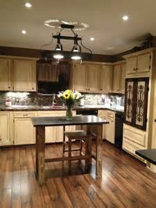 Pine cabinet kitchen paint color idea also small island table and